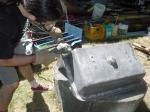 sanding the salvaged sink