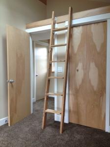 a ladder to the storage loft in Stephen Williams' ADU