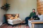 James & Kyra at home with their dogs