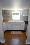 a 1940s kitchen was salvaged and reinstalled here