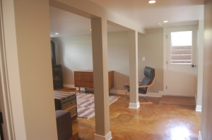 the concrete floors were ground down, stained and finished
