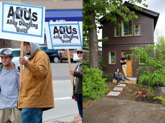 contrasting photos of anti-ADU protesters and happy ADU homeowner-developers