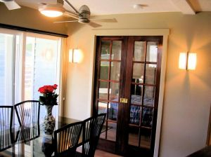 Clark & Chen dining room and French doors to bedroom