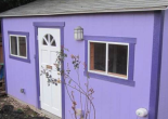 photo of a very small purple shed for rent as a dwelling