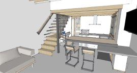Zenbox Design ADU 2 Kitchen, Dining & Stairs Rendering