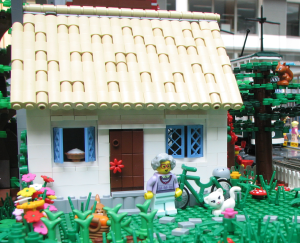 photo of a lego model of a granny cottage